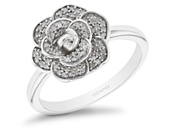 Picture of Enchanted Disney Cinderella Flower Ring White Diamond Rhodium Over Silver 0.20ctw