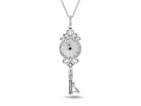 Enchanted Disney Cinderella Pendant Mother-of-Pearl, Sapphire & Diamond Rhodium Over Silver 0.12ctw