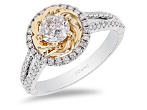 Enchanted Disney Belle Rose Ring White Diamond 14k White and Yellow Gold 1.00ctw