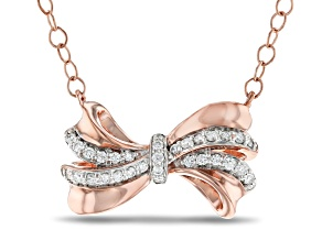 Enchanted Disney Snow White Bow Necklace White Diamond 10k Rose Gold 0.10ctw