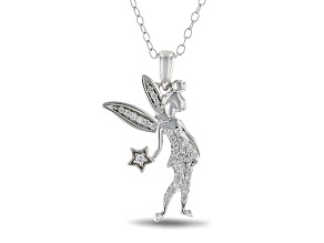 Enchanted Disney Tinker Bell Pendant With Chain White Diamond Rhodium Over Silver 0.10ctw