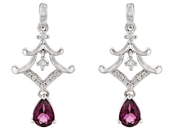 Picture of Enchanted Disney Mulan Earrings Rhodolite Garnet and White Diamond Rhodium Over Silver 1.10ctw