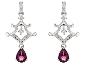 Enchanted Disney Mulan Earrings Rhodolite Garnet and White Diamond Rhodium Over Silver 1.10ctw