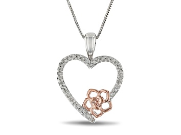 Picture of Enchanted Disney Belle Heart & Rose Pendant With Chain White Diamond Rhodium Over Silver 0.17ctw