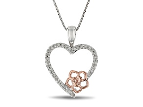 Enchanted Disney Belle Heart & Rose Pendant With Chain White Diamond Rhodium Over Silver 0.17ctw