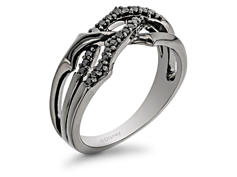Enchanted Disney Villains Maleficent Ring 15 CT Round Black Simulated Diamond Ring Solid 925 Sterling Silver Black Rhodium Engagement Ring