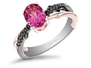 Enchanted Disney Villains Maleficent Ring Black Diamond & Pink Topaz Black Rhodium Over Silver