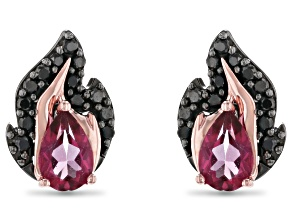 Enchanted Disney Villains Maleficent Earrings Pink Topaz & Black Diamond Black Rhodium Over Silver