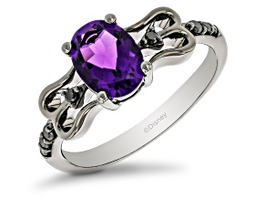 Enchanted Disney Villains Ursula Ring Amethyst and Black Diamond, Black Rhodium Over Silver 1.40ctw