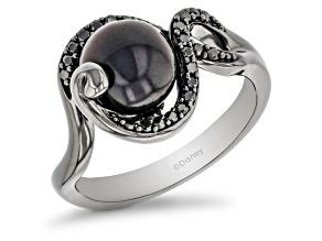 Enchanted Disney Ursula Ring Black Cultured  Freshwater Pearl & Diamond Black Rhodium Over Silver