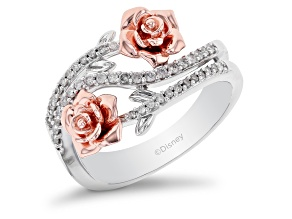 Enchanted Disney Belle Ring White Diamond Rhodium And 14k Rose Gold Over Silver 0.25ctw
