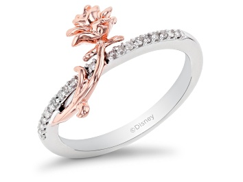 Picture of Enchanted Disney Belle Ring White Diamond Rhodium and 14k Rose Gold Over Silver 0.10ctw