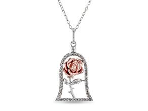 Enchanted Disney Belle Pendant White Diamond Rhodium & 14k Rose Gold Over Silver 0.20ctw