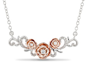 Enchanted Disney Belle Necklace White Diamond Rhodium & 14k Rose Gold Over Silver 0.10ctw