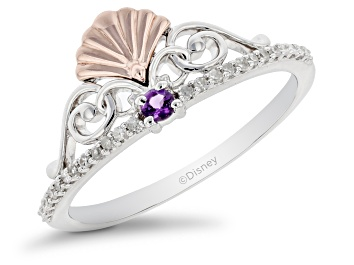 Picture of Enchanted Disney Fine Jewelry Ariel Ring White Diamond & Amethyst Rhodium Over Silver 0.10ctw