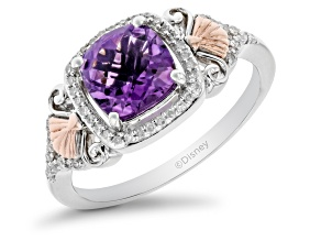 Enchanted Disney Fine Jewelry Ariel Ring Amethyst & White Diamond Rhodium Over Silver 1.65ctw