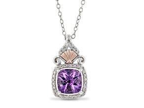Enchanted Disney Fine Jewelry Ariel Pendant Amethyst & White Diamond Rhodium Over Silver 1.65ctw