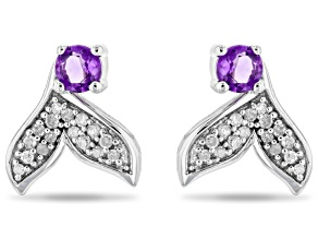 Enchanted Disney Fine Jewelry Ariel Earrings Amethyst & White Diamond Rhodium Over Silver 0.40ctw