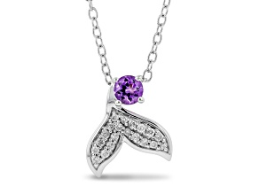 Enchanted Disney Fine Jewelry Ariel Pendant Amethyst & White Diamond Rhodium Over Silver 0.27ctw