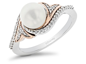 Picture of Enchanted Disney Ariel Ring Cultured Freshwater Pearl & Diamond Rhodium Over Silver 2.80ctw