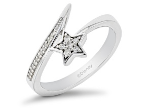 Enchanted Disney Fine Jewelry Tinker Bell Bypass Ring White Diamond Rhodium Over Silver 0.10ctw