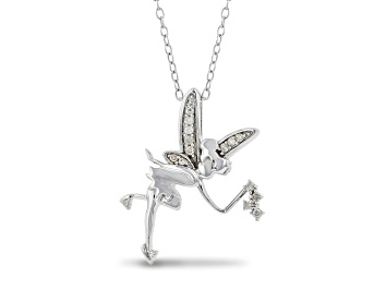 Picture of Enchanted Disney Fine Jewelry Tinker Bell Pendant White Diamond Rhodium Over Silver 0.10ctw