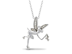 Enchanted Disney Fine Jewelry Tinker Bell Pendant White Diamond Rhodium Over Silver 0.10ctw