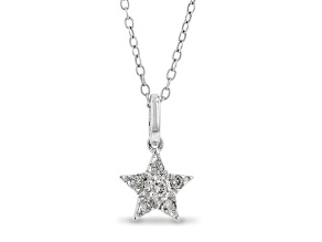 Enchanted Disney Fine Jewelry Tinker Bell Star Pendant White Diamond Rhodium Over Silver 0.15ctw