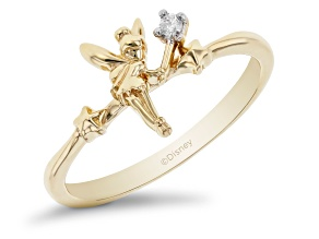 Enchanted Disney Tinker Bell Ring White Diamond Accent 10k Yellow Gold