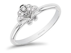 Enchanted Disney Ariel Shell Ring White Diamond Accent 10k White Gold