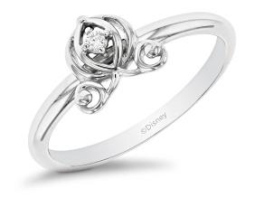 Enchanted Disney Cinderella Carriage Ring White Diamond Accent 10k White Gold