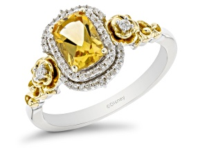 Enchanted Disney Belle Ring Yellow Citrine & White Diamond Rhodium And 14k Yellow Gold Over Silver