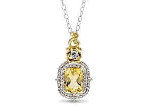 Enchanted Disney Belle Pendant Citrine And Diamond Rhodium And 14k Yellow Gold Over Silver