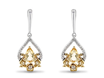 Picture of Enchanted Disney Belle Earrings Citrine And Diamond Rhodium And 14k Yellow Gold Over Silver