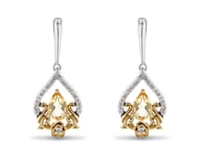 Enchanted Disney Belle Earrings Citrine And Diamond Rhodium And 14k Yellow Gold Over Silver