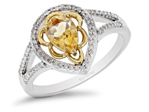 Enchanted Disney Belle Ring Citrine & White Diamond Rhodium And 14k Yellow Gold Over Silver