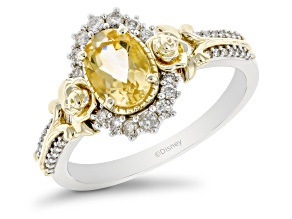 Enchanted Disney Belle Ring Oval Yellow Citrine And Round White Diamond 10k Two-Tone