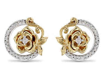 Picture of Enchanted Disney Belle Rose Earrings Round White Diamond Rhodium And 14k Yellow Gold Over Silver