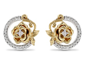 Enchanted Disney Belle Rose Earrings Round White Diamond Rhodium And 14k Yellow Gold Over Silver