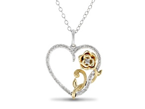 Enchanted Disney Belle Heart Pendant White Diamond Rhodium And 14k Yellow Gold Over Silver