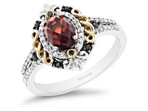 Enchanted Disney Evil Queen Ring Garnet And Diamond Rhodium And 14k Yellow Gold Over Silver 1.27ctw