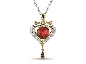 Enchanted Disney Evil Queen Pendant Garnet And Diamond Rhodium And 14k Yellow Gold Over Silver