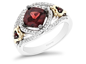 Enchanted Disney Evil Queen Ring Garnet And Diamond Rhodium And 14k Yellow Gold Over Silver 2.33ctw