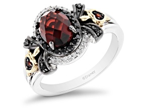 Enchanted Disney Evil Queen Ring Garnet And Diamond Rhodium And 14k Yellow Gold Over Silver 1.92ctw