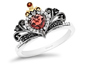 Enchanted Disney Evil Queen Ring Garnet And Diamond Rhodium And 14k Yellow Gold Over Silver 0.75ctw