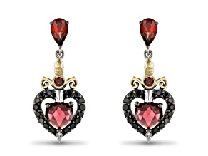 Enchanted Disney Evil Queen Earrings Garnet And Diamond Rhodium And 14k Yellow Gold Over Silver