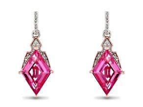 Enchanted Disney Aurora Earrings Lab Pink Sapphire & Diamond Rhodium & 14k Rose Gold Over Silver