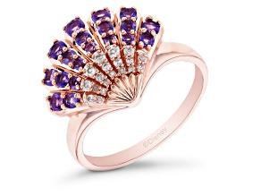 Enchanted Disney Ariel Seashell Ring Amethyst & White Diamond 14k Rose Gold Over Silver 0.81ctw