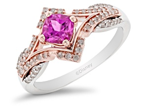Enchanted Disney Aurora Ring Lab Pink Sapphire & Diamond Rhodium & 14k Rose Gold Over Silver 1.05ctw