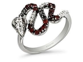 Enchanted Disney Villains Jafar Cobra Ring Garnet & Diamond Black Rhodium Over Silver 0.47ctw